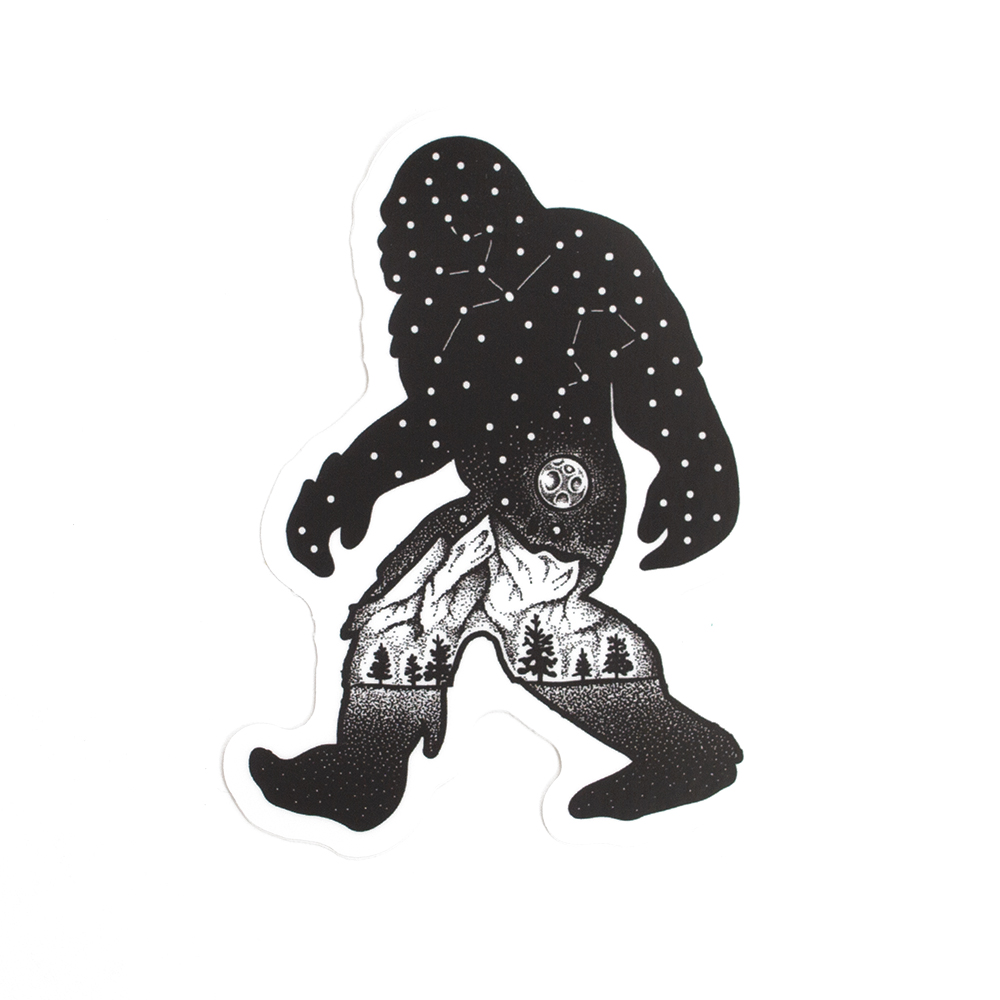 Sticker, Northwest Theme, Sasquatch, Constellation